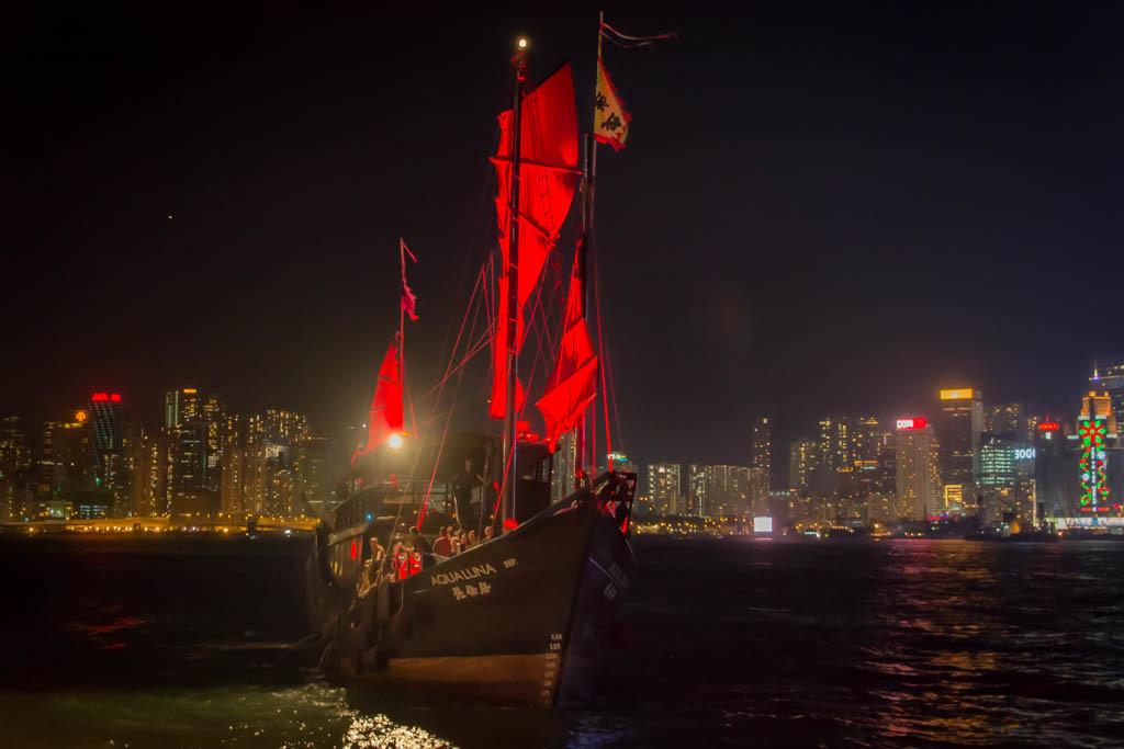 Aqua Luna Harbour cruise Hong Kong. Chinese junk boat