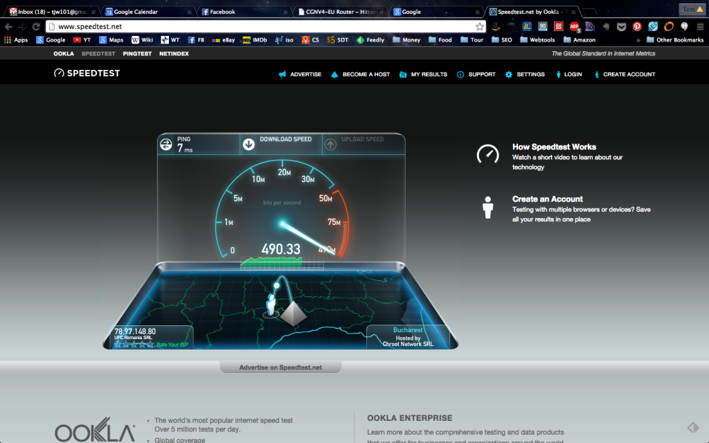 internet speed in Bucharest Romania