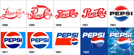 Pepsi original and new logo.
