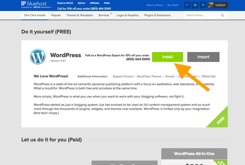 Install WordPress - How to start a travel blog and make money